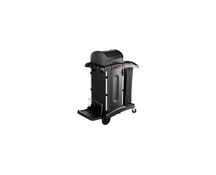 Executive Janitorial Cleaning Cart with Doors and Hood - High-Security, Black