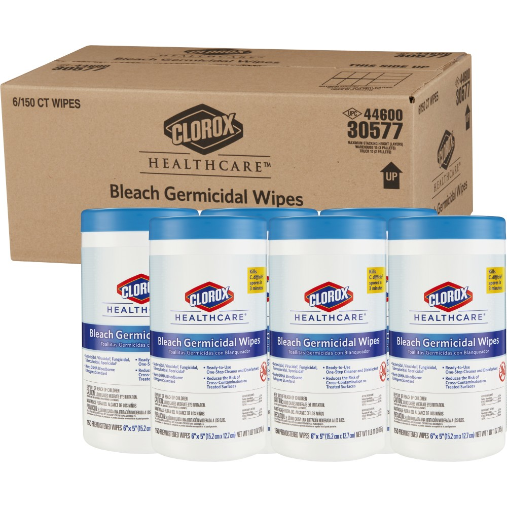 Clorox Healthcare® Bleach Germicidal Wipes 150/Container (6/Case)