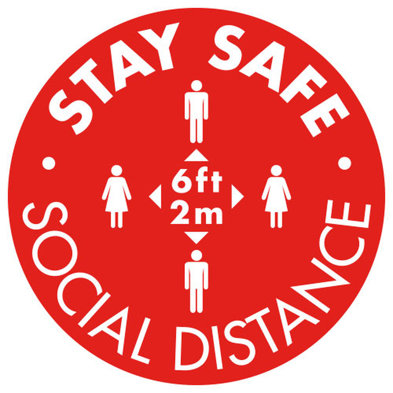 """16"""" Social Distancing Floor Decal Red Pack of 10"""