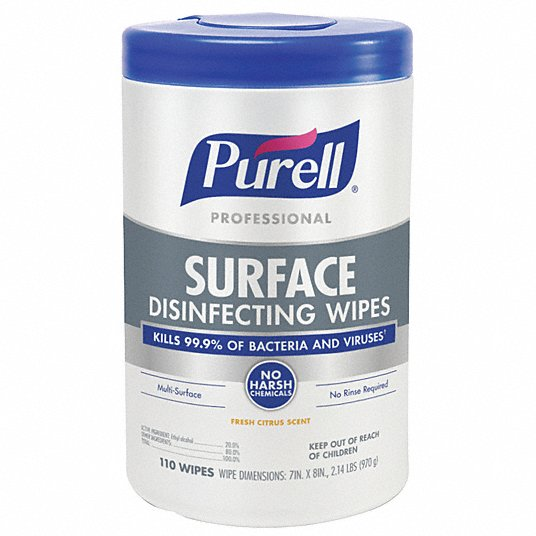 Purell Professional Surface Disinfectant Wipes 110/Container (6/Case)