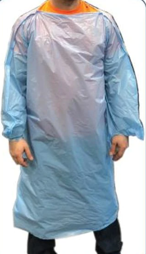 Isolation Gown T-Style Poly 1.5MIL Blue 50/CS
