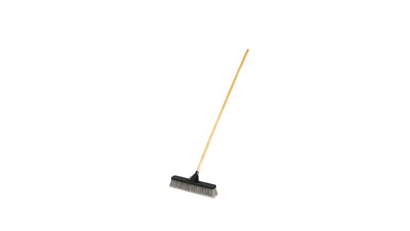 "24"" Smooth Surface Fine Push Broom w/ Handle Grey"
