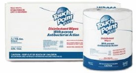 """Touchpoint Plus Disinfecting Wipes 8""""x6"""" 900/Roll (2 per case)"""