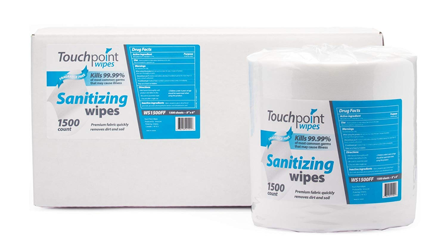 TouchPoint Fragrance Free Premium Sanitizing Wipes (2-1500 sheet rolls per Case)