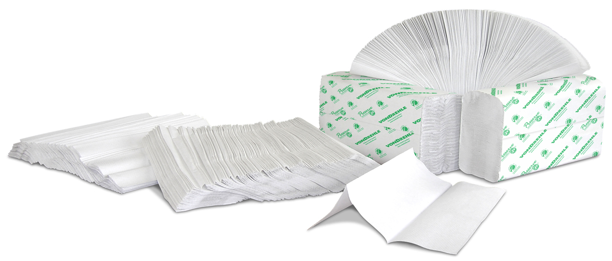 Multiple white paper towels folded