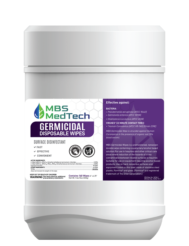 """Medtech Germicidal Wipes 6""""X6.75"""" White 160CT (12/Case)"""